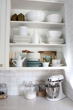 Open shelves are fun to style and change on a whim or with the seasons!