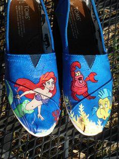 Custom Painted Shoes Little Mermaid Flounder Sebastian Ariel TOMS VANS