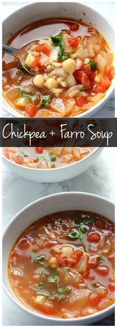 This smoky chickpea and farro soup is packed with protein and full of flavor! It's a great vegetarian main dish or easy weeknight meal! Farro Recipes, Healthy Soup Recipes, Chili Recipes, Clean Eating Recipes, Vegetarian Recipes, Vegan Meals, Easy Recipes, Chowder Recipes, Vegan Soups