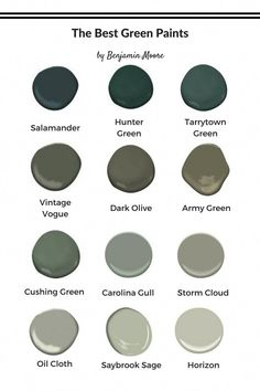 Want to take the leap and go green on your walls or cabinetry? Especially when you have my round up of the best green paints to decorate with now! All by Benjamin Moore wall The Best Green Paints to Decorate With Now Green Accent Walls, Dark Green Walls, Green Accents, Green And Grey, Green Painted Walls, Olive Green Walls, Green Wall Paints, Olive Green Decor, Green Bathroom Paint