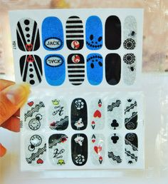 2 Packs nightmare before christmas Nail wrap, Alice in wonderland Nail Decals, water Transfer, Nail Decals,  Nail Art, Nail Decorations,
