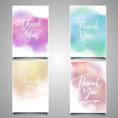 Thank you cards painted with watercolors Free Vector