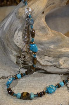 Turquoise & Brown Two Strand Necklace Jewelry Set by JustBeadHappy2 on Etsy https://www.etsy.com/listing/155809754/turquoise-brown-two-strand-necklace