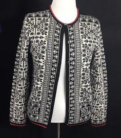 CASUAL CORNER Black White Snowflake Knit Cardigan Extra Fine Merino Wool Womens #CasualCorner #Cardigan