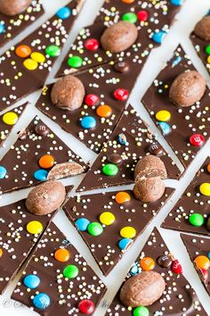 ~ Ridiculously easy chocolate bark topped with colorful Easter candies. The best treat for Easter! ~