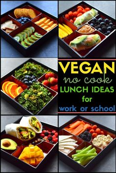Vegan No Cook Lunch Ideas - Veggie Wraps, Kale Salad, Vegan Cheese & Crackers, Fresh Spring Rolls, Pita & Hummus with Veggies - Healthy quick meals for school, work and college! - Rich Bitch Cooking Blog