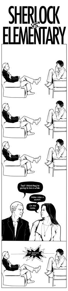 Sherlock vs. Elementary by WendyWendey on deviantART
