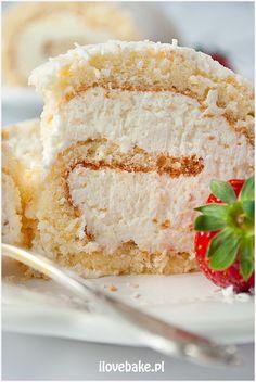 Rolada biszkoptowa Raffaello - I Love Bake Vanilla Cake, Baking, Desserts, Raffaello, Tailgate Desserts, Deserts, Bakken, Postres, Dessert