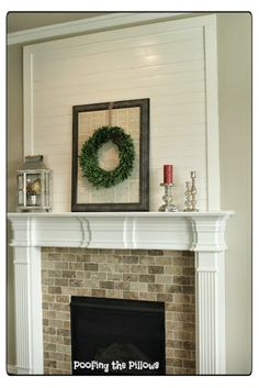 Shiplap Over Fireplace Above Mantle Adding Faux Planks A Mantel White With Wood Country Fireplace, Cottage Fireplace, Shiplap Fireplace, Victorian Fireplace, Concrete Fireplace, Farmhouse Fireplace, Fireplace Remodel, Fireplace Mantle, Fireplace Design