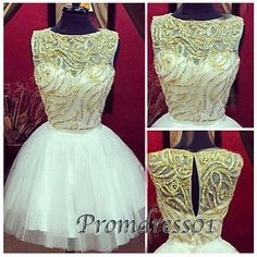 2015 cute round neck golden sequins white tulle vintage short prom dress for teens, ball gown, homecoming dress, bridesmaid dress, plus size dresses #promdress #wedding