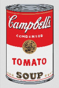 Cross Stitch Patterns - Food/Kitchen - Campbell's Tomato Soup CROSS STITCH PATTERN Pop Art