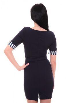 Платье темно-синее в полоску А7592 Размеры: 42-48 Цена: 600 руб.  http://optom24.ru/plate-temno-sinee-v-polosku-a7592/  #одежда #женщинам #платья #оптом24