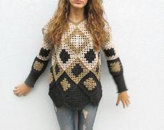 Items similar to Retro Women Crochet  Granny square sweater. Grey-Black granny square Crochet Afghan for women. Unique Design Krisswool OOAK on Etsy