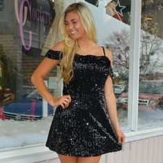 e1828e81048 Sequin Off Shoulder LBD from Cousin Couture. New Years Eve