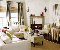 Corner fireplace and furniture placement idea