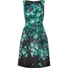 Lela Rose Floral-print satin dress (12,480 HNL) ❤ liked on Polyvore featuring dresses, blue, floral dress, colorful dresses, floral print dress, flower pattern dress and satin dress