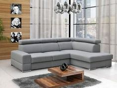 L shape Corner sofabed ANZIO PLUS LEATHER with adjustable headrests and storage