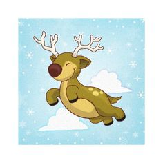 Christmas Flying Reindeer in the clouds with a snowflake background. Canvas Prints