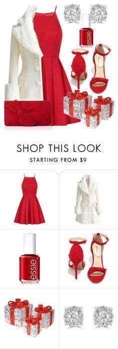 """Lady in Red"" by sparklemeetsclassic ❤ liked on Polyvore featuring Chi Chi, WithChic, Essie, Qupid, National Tree Company, Effy Jewelry, L.K.Bennett, Christmas, red and dress"