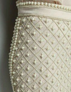 Pearl embroidery on skirt with little beads looks very interesting. Such embroidery can decorate both a wedding dress and an evening outfit Pearl Embroidery, Embroidery Fashion, Embroidery Patterns, Hand Embroidery, Wedding Embroidery, Skirt Embroidery, Couture Embroidery, Couture Details, Fashion Details