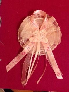 PINK GIRL CORSAGE CAPIA BABY SHOWER BAPTISM COLD PORCELAIN MOM FAVOR HANDCRFTD