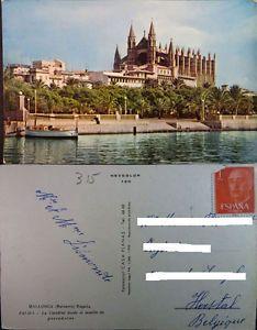 a antigua postal palma de mallorca catedral desde el muelle de pescadores cc03915
