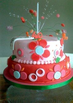 Loving this bright and fun birthday cake by 'cake'