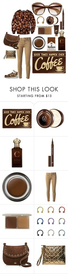 """Over Coffee!"" by carolina-c ❤ liked on Polyvore featuring The Body Shop, Clive Christian, BBrowBar, Giorgio Armani, Dondup, Stila, Kate Spade, Gareth Pugh and tarte"