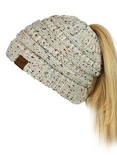 4a1d4425b71 New C.C BeanieTail Soft Stretch Cable Knit Messy High Bun Ponytail Beanie  Hat online