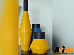 #DecorTips   For a modern look combine 2 bold  colours like with these Yellow Vases add a Blue Vase. It will create a  dramatic focal point in a passage or lounge. Email us: info@avidalighting.co.za   Visit our Showroom at 1 Lees Street, Wynberg, #Sandton.   #Avida  #decor #uniquedesign #chandelier #lighting #glamour #luxury #luxuryhome  #luxurylife #homeconcept #illumination #decordesign #interiordesign  #beautifulhome #dreamhome #stylish #style #johannesburg #gauteng  #southafrica Luxury Life, Luxury Homes, Bold Colors, Colours, Yellow Vase, Chandelier Lighting, Showroom, Vases, Beautiful Homes