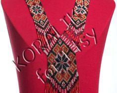 Negro/rojo/oro. Joyería hecha a mano popular ucraniana por koraliky