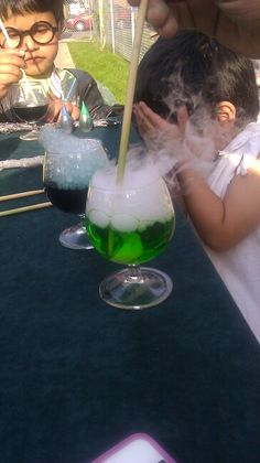 Harry Potter Party Ideas: Potions Lesson! Dry ice+food coloring+ warm water=magic :)