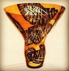 Czech painted glass vase by Vladimir Kopecky, student of professor Josef Kaplicky, in 1961