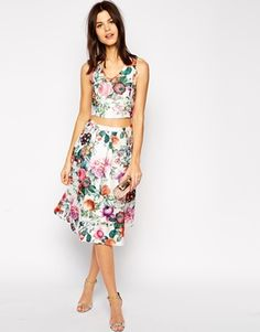 True Decadence Botanical Floral Midi Skirt