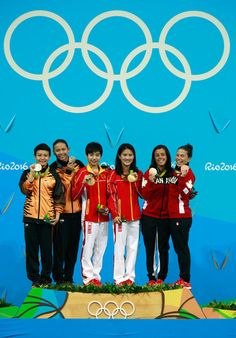 Silver medalists Jun Hoong Cheong and Pandelela Rinong of Malaysia, gold medalists Ruolin Chen and Huixia Liu of China and bronze medalists Meaghan Benfeito and Roseline Filion of Canada pose on the podium during the medal ceremony for the Women's Diving Synchronised 10m Platform Final on Day 4 of the Rio 2016 Olympic Games at Maria Lenk Aquatics Centre on August 9, 2016 in Rio de Janeiro, Brazil.