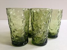 Vintage 1970s LIDO MILANO Tumbler Glasses | Vintage Anchor Hocking | Olive Green | Set of Five by BROCANTEBedStuy on Etsy
