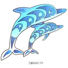 GRASHINE Waterproof tattoo sticker blue dolphin lovely children fake and realistic temporary tattoos ** Visit the image link more details. (This is an affiliate link) #TemporaryTattoos
