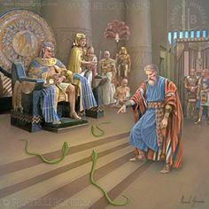 Moses before Pharaoh snakes - art by Manuel Gervasini