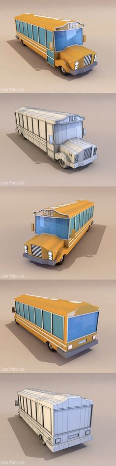 Cartoon School Bus low poly 3D model. 3D Vehicles