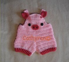 Babe Pig Romper Overall Shorties Buttons at by CathyrenDesigns