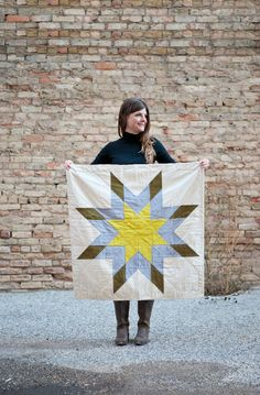 Star quilt - Olive, grey chambray, chartreuse