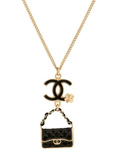 Vintage Chanel Clover and Quilted Black Handbag Pendant Necklace at London Jewelers!