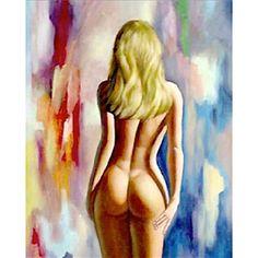 Olieverf schilderij de blonde vrouw foto 1