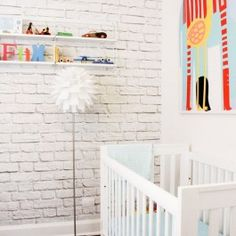 White Brick Mural Wallpaper From Scandinavian Wallpaper U0026 Décor I Kids  Nursery I Www.wallpaperdecor