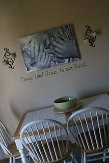 Customer uses a custom wall decal in her dining room from sweetpeachesbedding.com