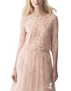 Jenny Yoo Kinley Top Crew neck sleeve lace top is the perfect delicate touch to a separates look or as a topper to a Jenny Yoo gownScallop edge detail at hem and sleeves Shown in Cameo Pink with the Lucy Print Skirt Garden Rose Lace Gala Dresses, Cute Dresses, Casual Dresses, Pink Lace Tops, Mother Of Groom Dresses, Bridesmaid Dresses Online, Classy Outfits, Dress Collection, Marie