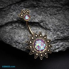 Golden Antique Tribal Sun God Opal Sparkle Belly Button Ring