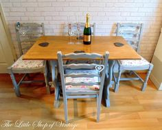 Small Old Charm Kitchen Dining Oak Table and 4 Chairs Shabby Chic Annie Sloan