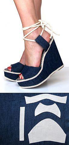 Джинсовая переделка босоножек. Denim Sandals, Denim Ideas, Refashion, Old And New, Jeans, Espadrilles, Sewing, Womens Fashion, Shoes