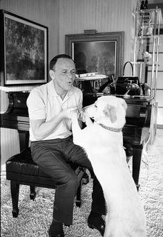 Frank Sinatra and his beautiful dog.